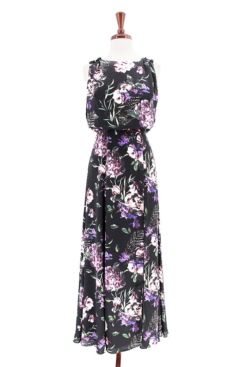 FAME AND PARTNERS Floral Printed Blouson Gown Former Dress