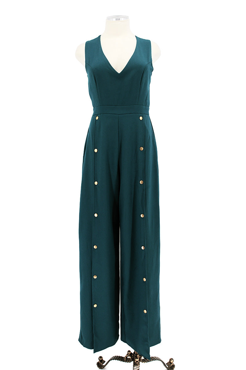 Snap Button Deep V Jumpsuit