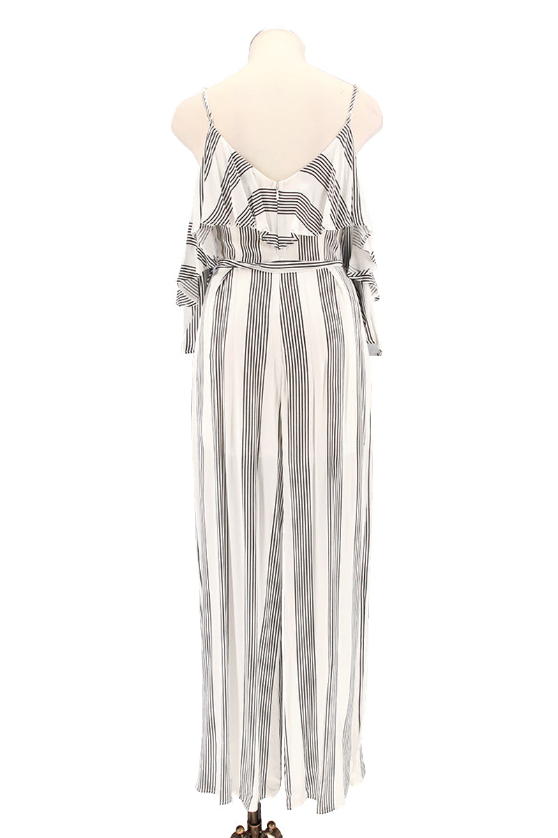 Stripe Ruffle Layer Strappy Open Shoulder Jumpsuit