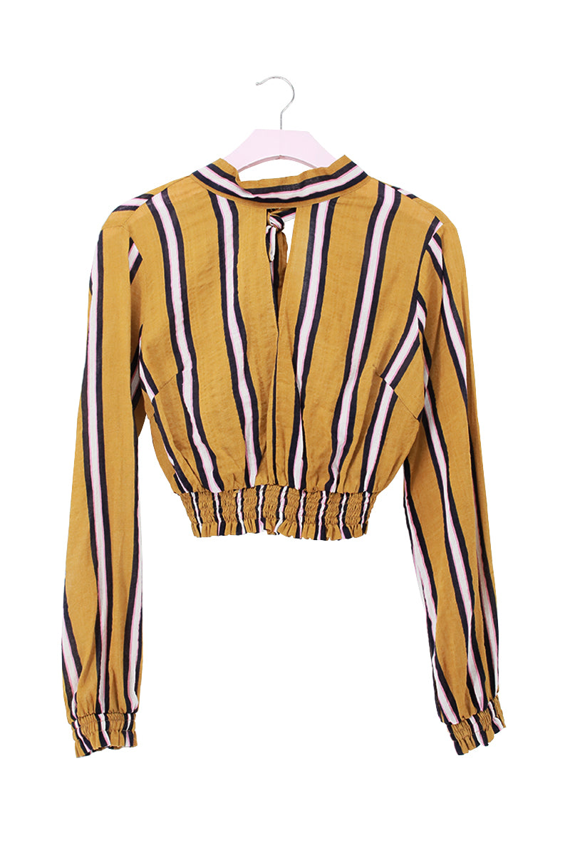High Neck Open Front Stripe Crop Blouse Top