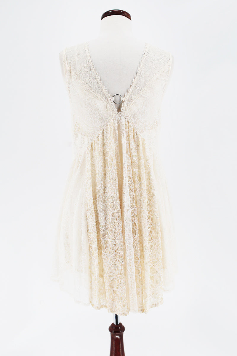 FREE PEOPLE Ring Keyhole Lace Short Dress