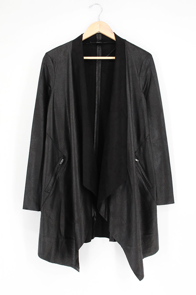 Suedette Shawl Collar Open Blazer Jacket