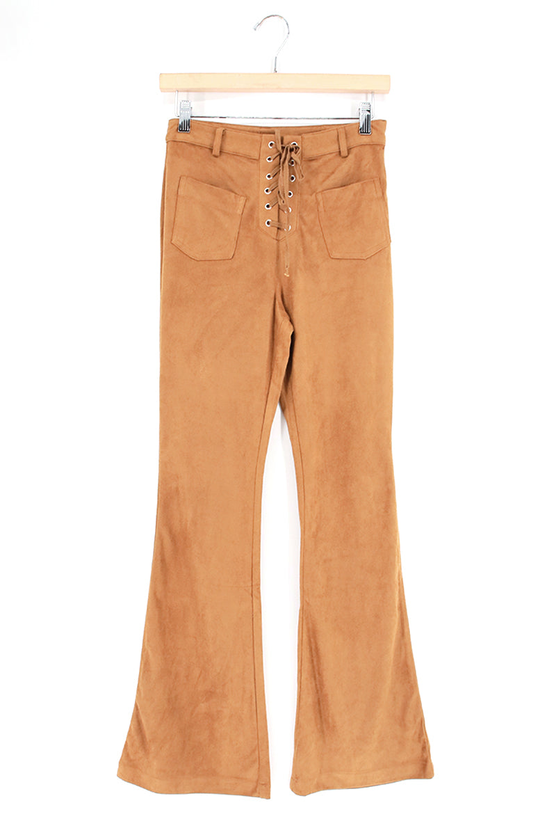 Lace Up Suedette Bell Bottom Pants