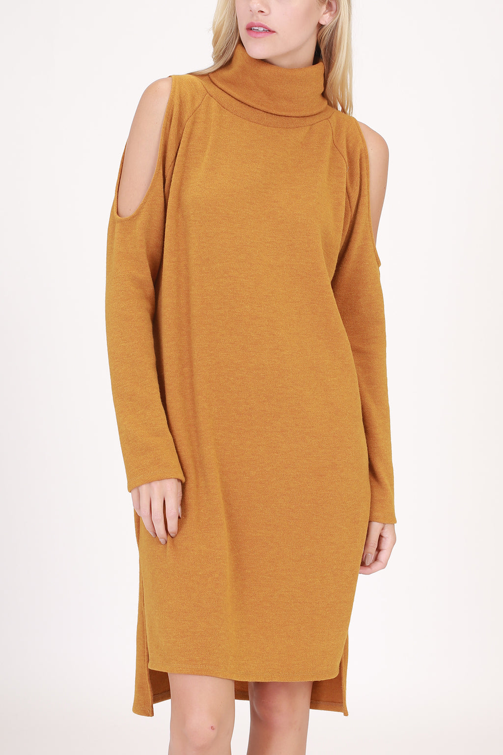 Turtle Neck Cold Shoulder Sweter Dress