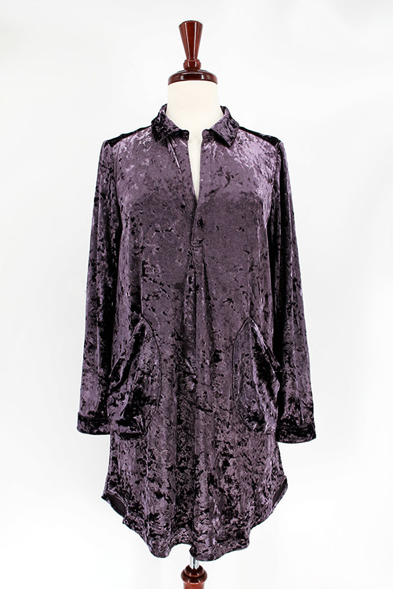 Velour Tunic Shirt Dress