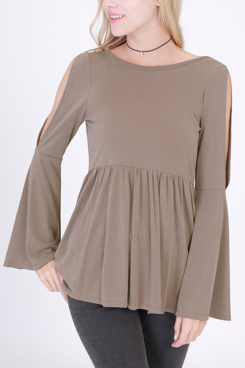 Open Sleeve Babydoll Open Back Top