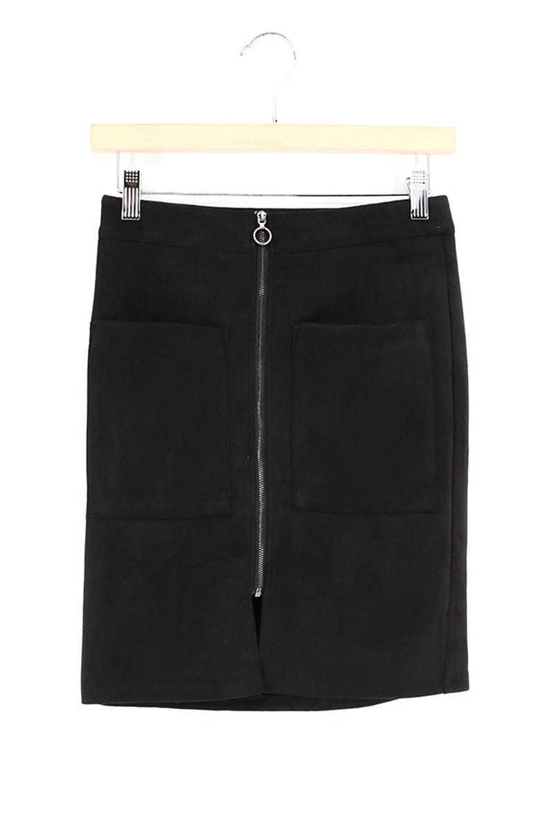 Zipper Detail Suedette Pencil Cut Skirt