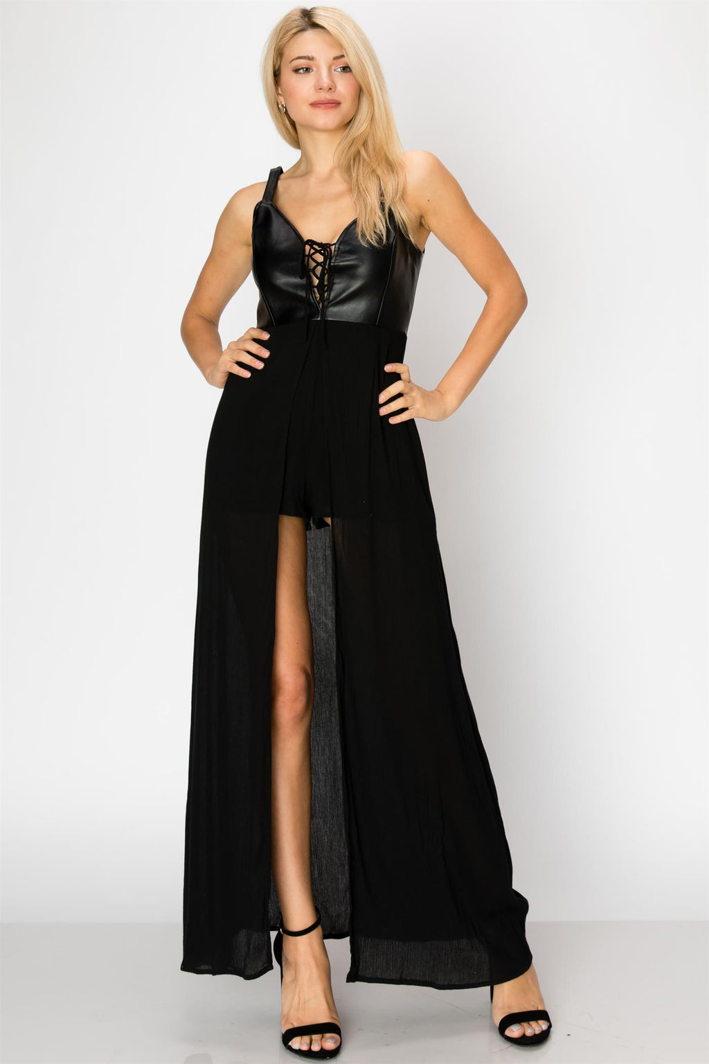 Thick Strap Leather Contrast Romper with Maxi Skirt Overlay & Tie Front Detail