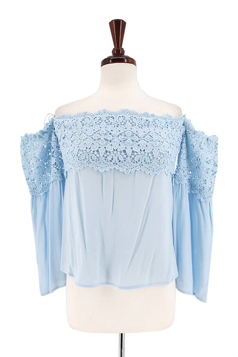 Off Shoulder Bell Sleeve Top with Crochet Trim