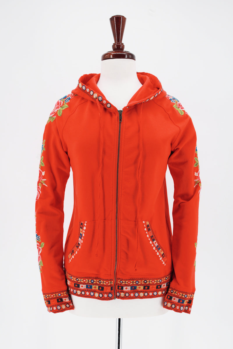 JONNY WAS Floral Embroidered Zip Up Hooded Jacket