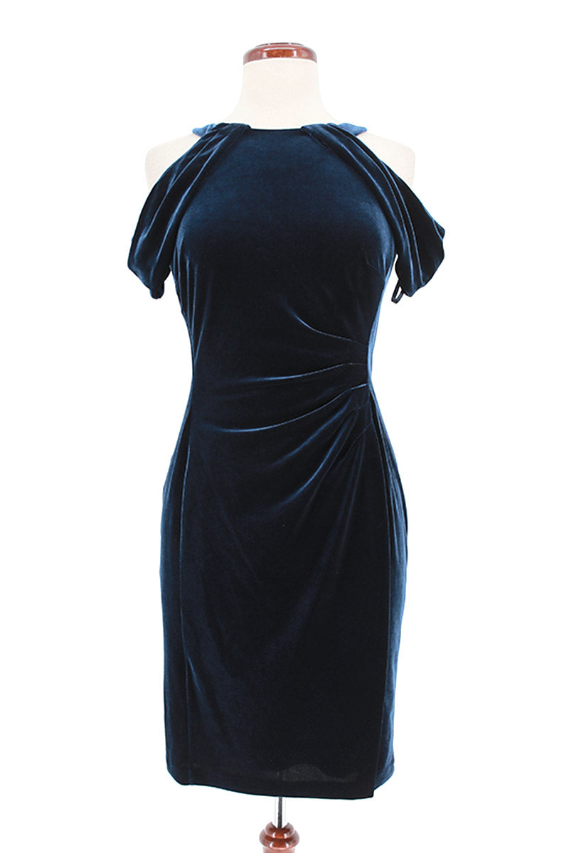 LAUREN RALPH Cold Shoulder Velvet Cocktail Dress