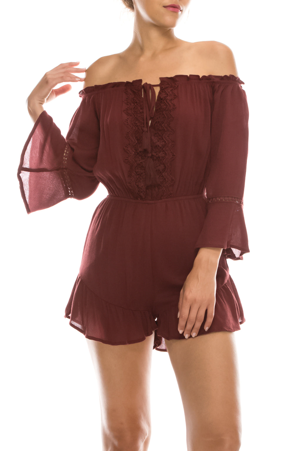 Off Shoulder Tassel Lace Trim Romper