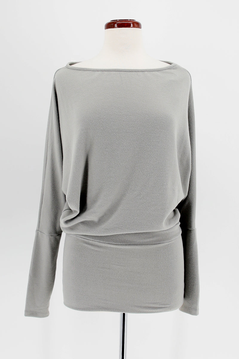 Wide Neck Dolman Sleeve Tunic Dress