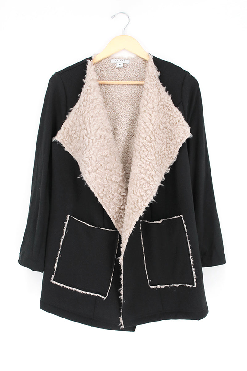 Shawl Collar Faux Fur Lining Blazer Jacket