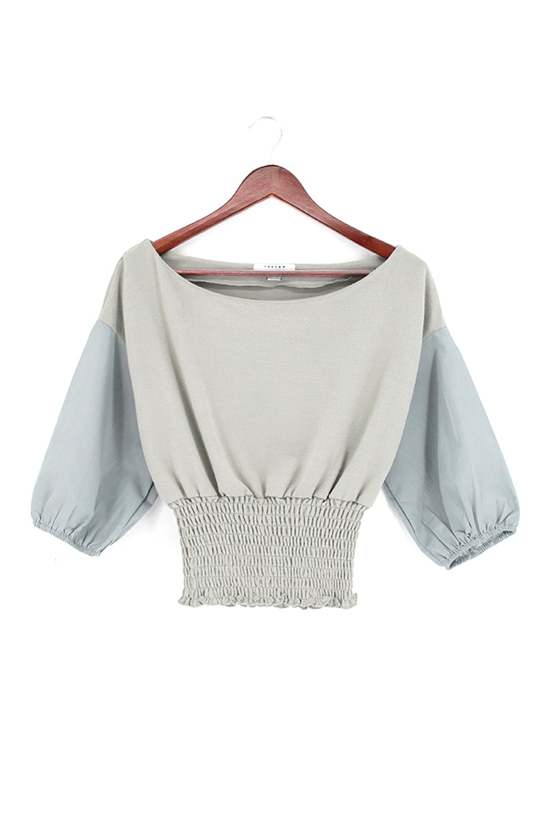 Boat Neck 3/4 Sleeve Smock Blouse Top