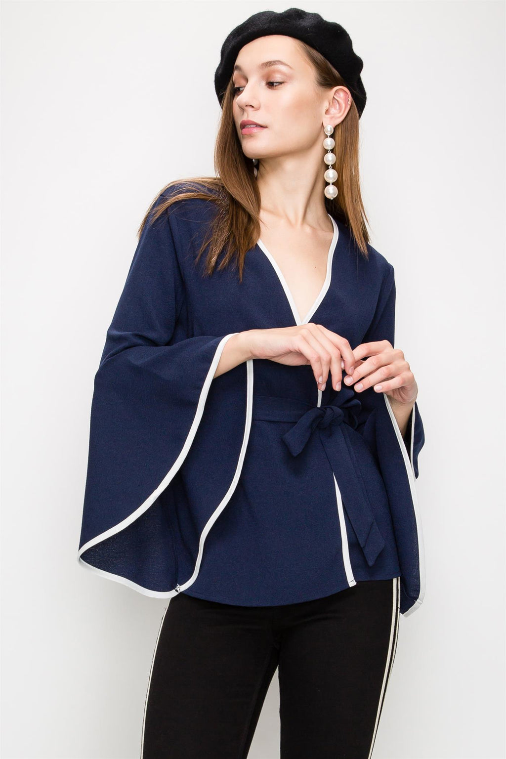 Ruffle Sleeve Wrap Blouse Cardigan