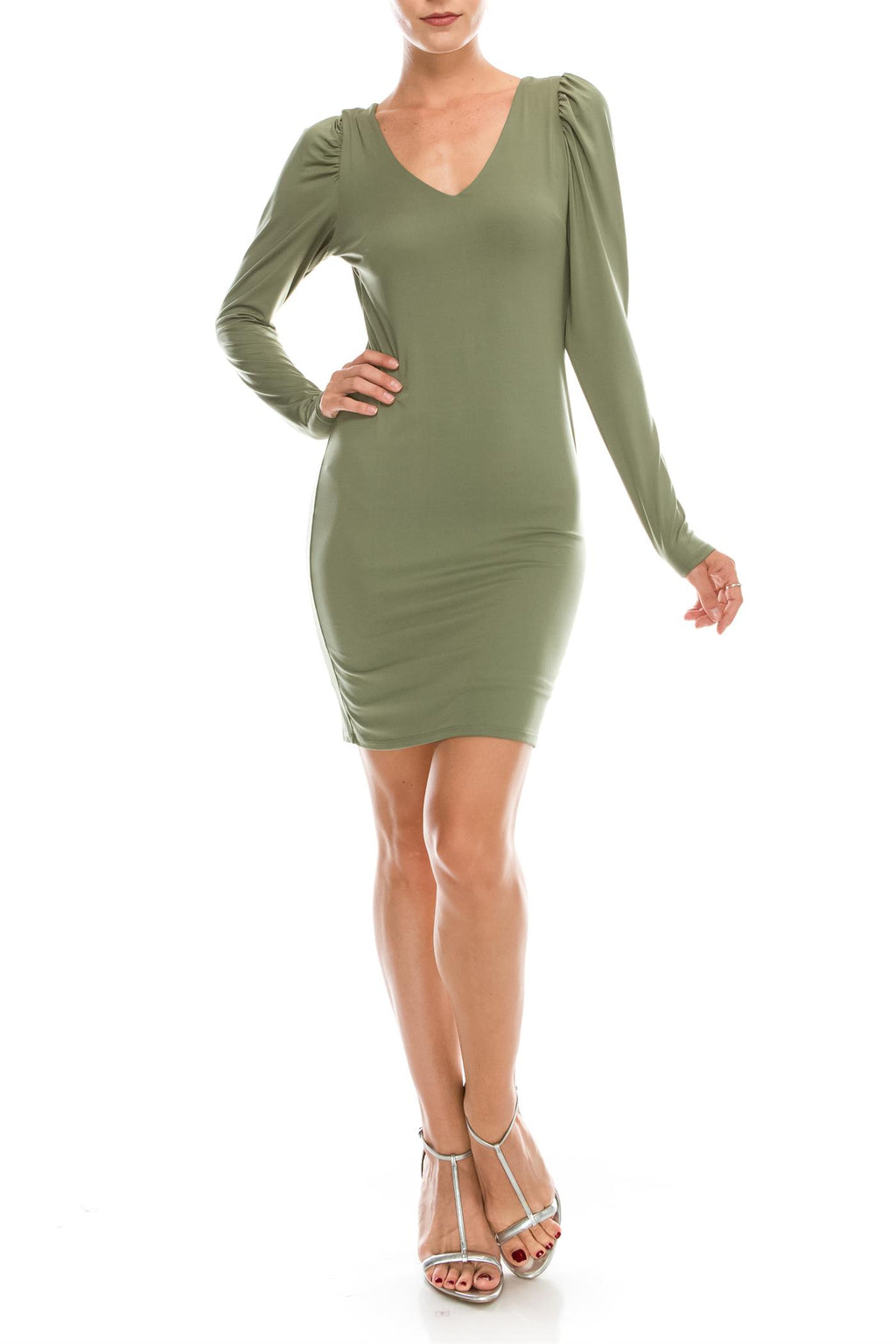 Puff Shoulder Deep V Thigh Dress
