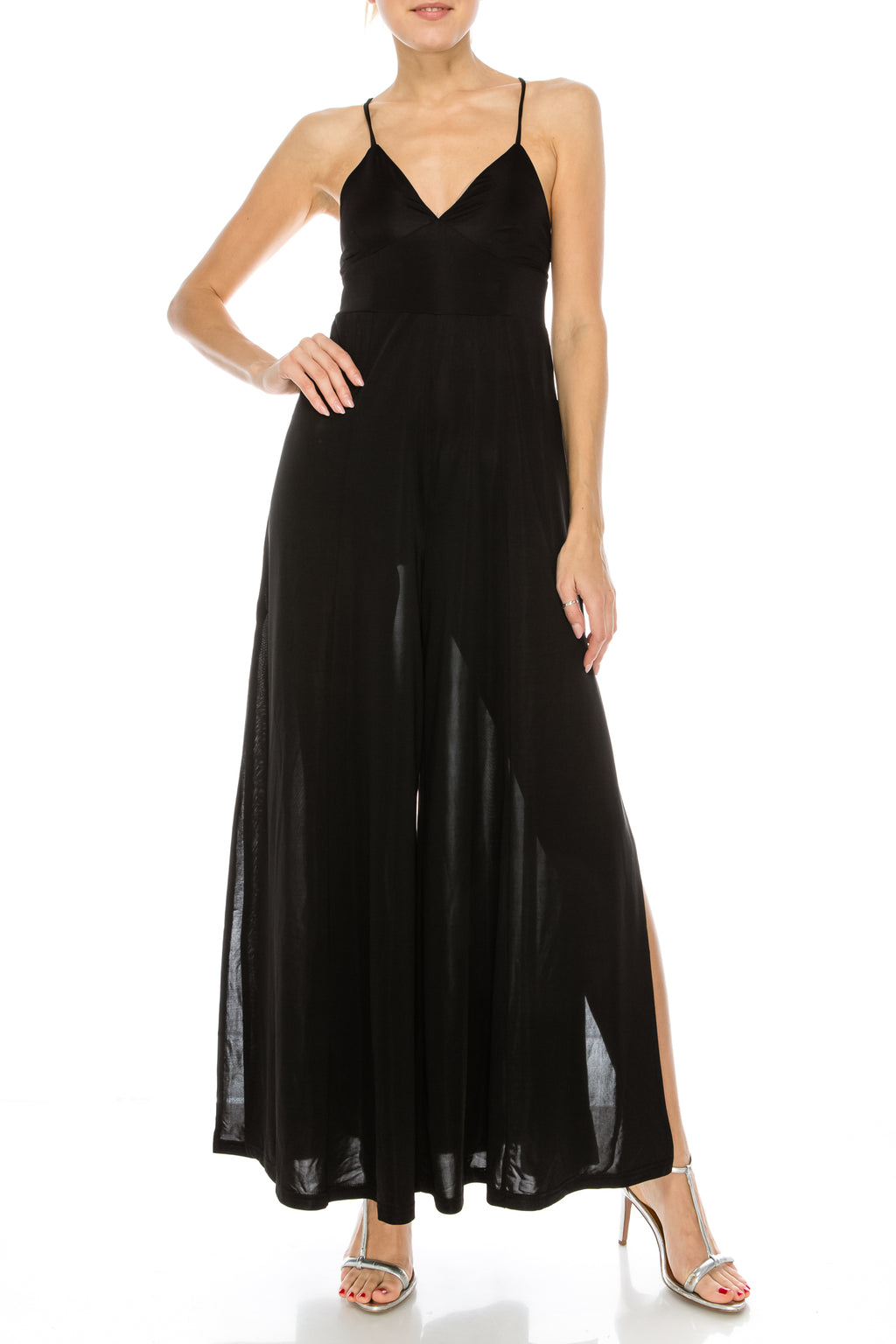 Strappy Deep V Jumpsuit with Side Slit