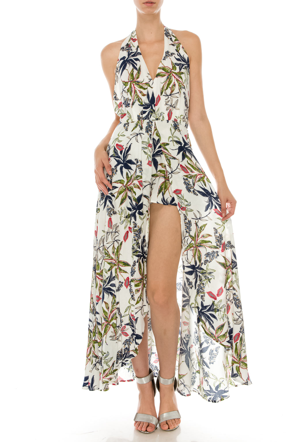 Tropical Print Halter Romper with Maxi Skirt Overlay