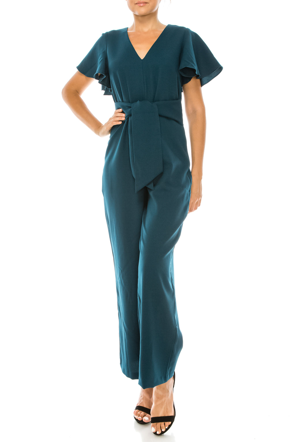 Ruffle Sleeve Wide Legged Deep V Jumpsuit