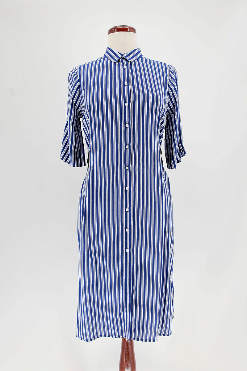 Stripe button down short sleeve shirt dress
