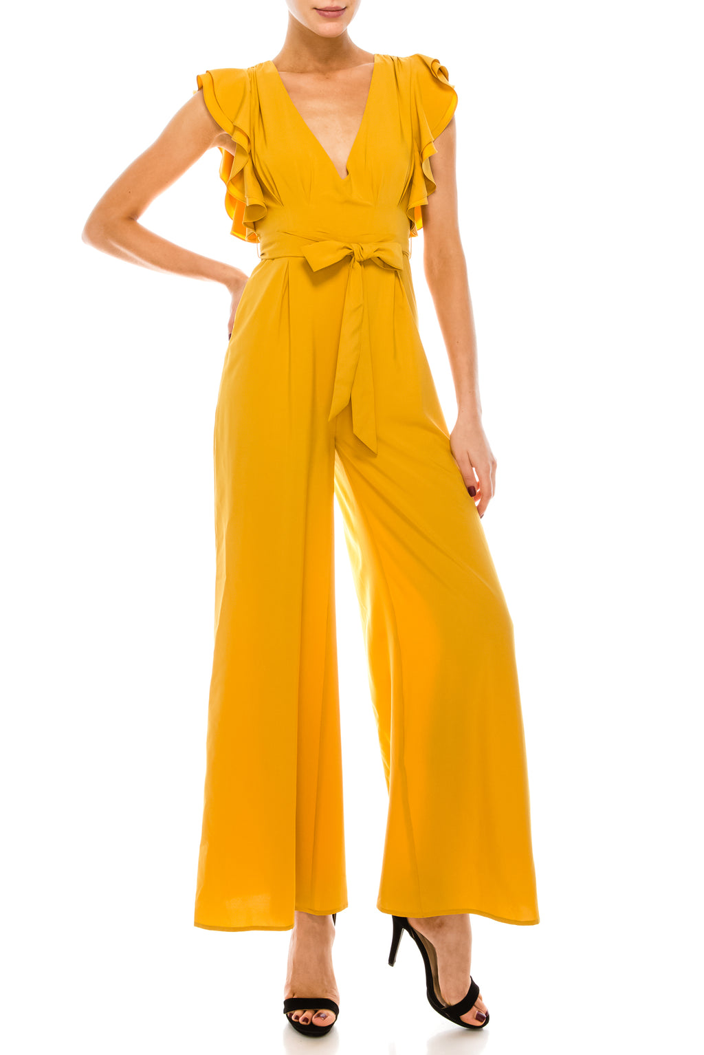 Ruffle Side Deep V Jumpsuit