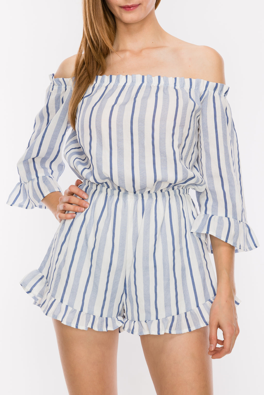 Off Shoulder Stripe Romper