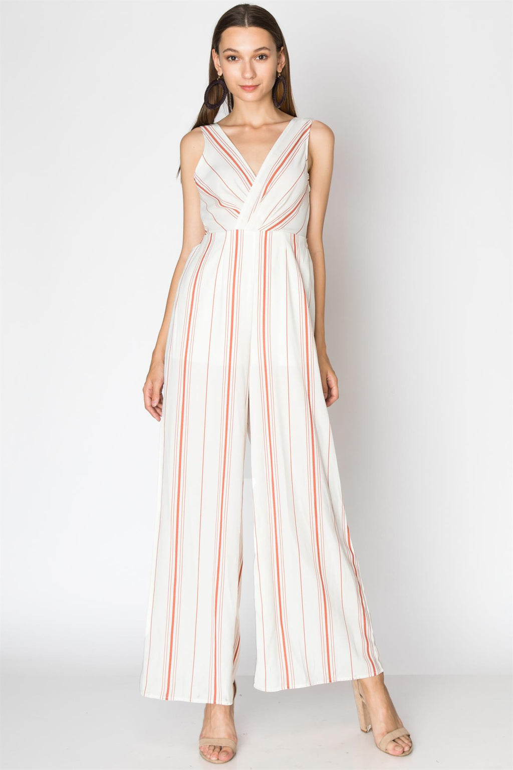 Stripe Jumpsuit with Surplice Sleeveless Top