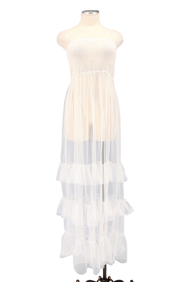 Smocking Sheer Mesh Dress