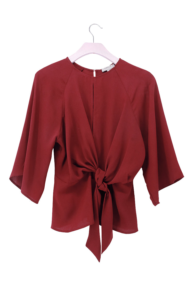 2/3 Sleeve Front Tie Blouse Top