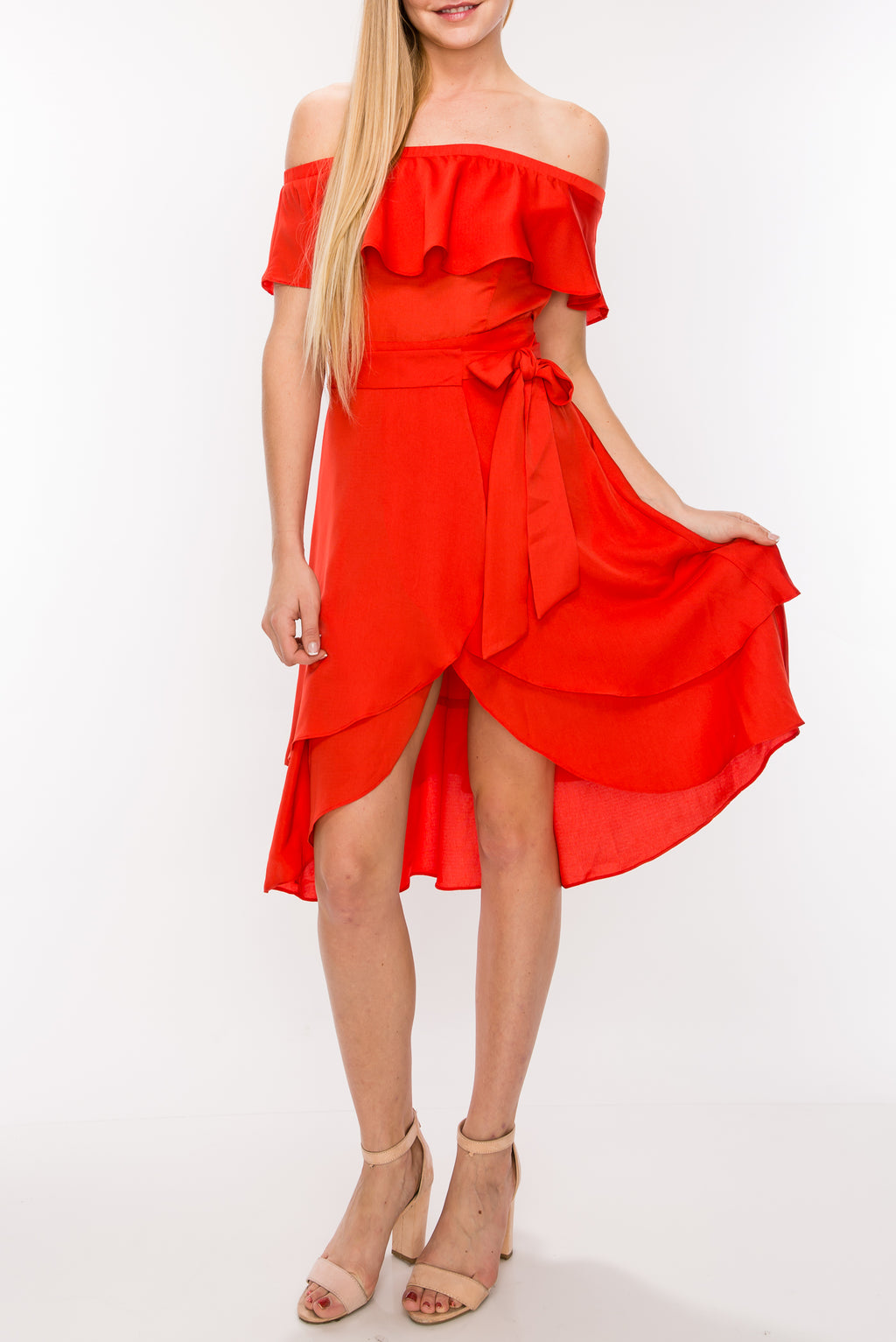 Off Shoulder Flounce Midi Dress