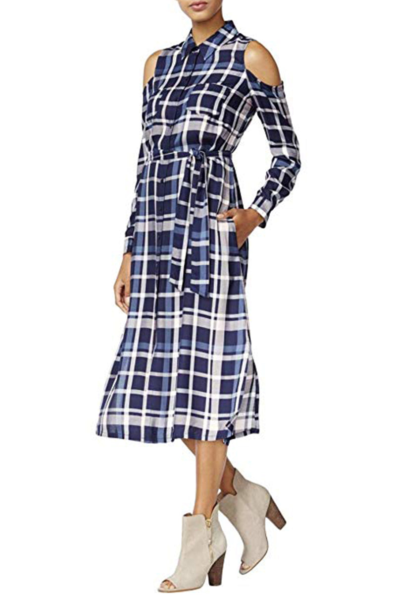 MAISON JULES Plaid Cold shoulder Button Down Shirt Dress