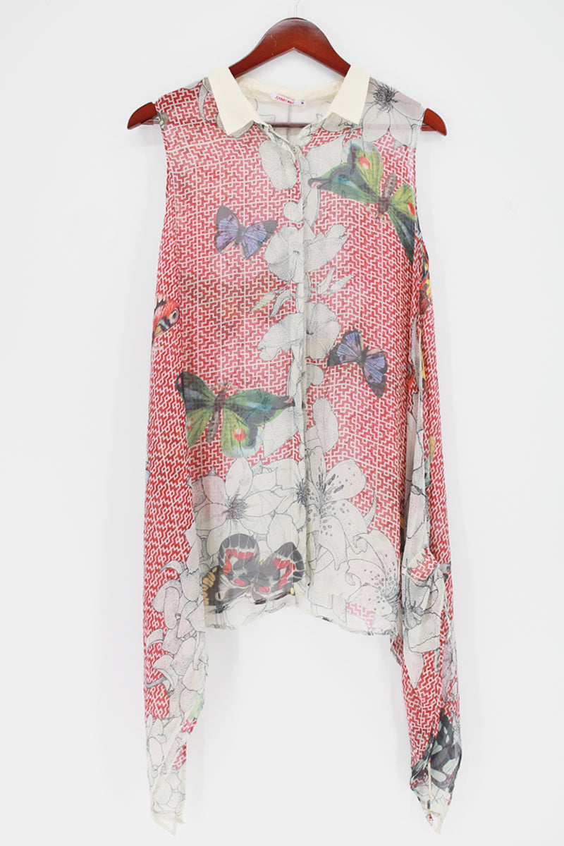 JOHNNY WAS Sleeveless Silk Butterfly-Print Tunic Top