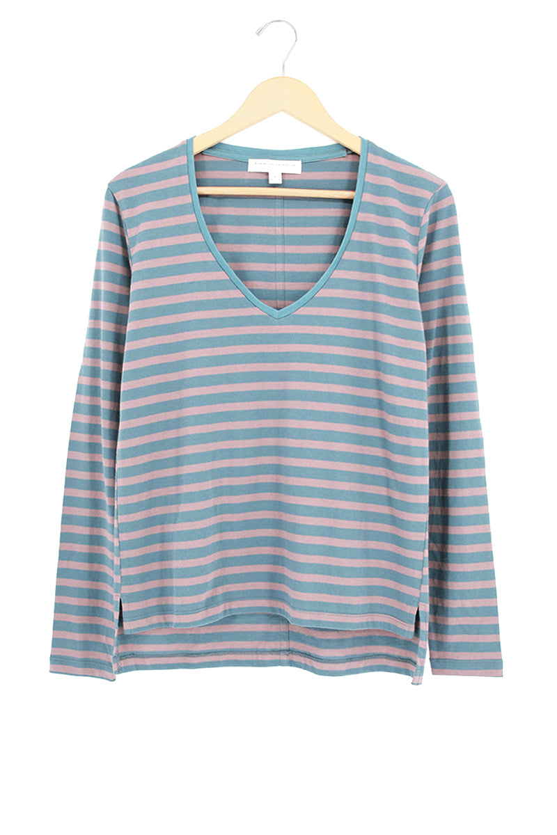 Stripe V-Neck Long Sleeve Top