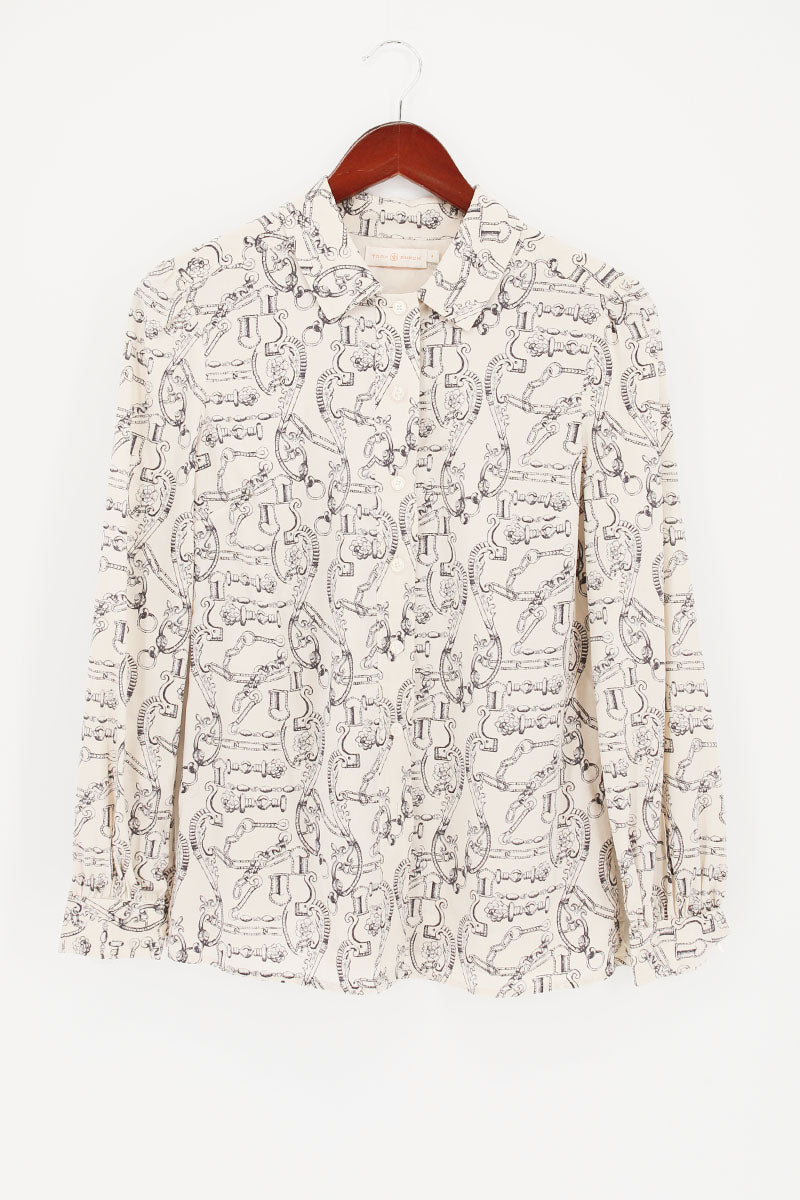 TORY BURCH Unique Printed Silk Shirt Blouse