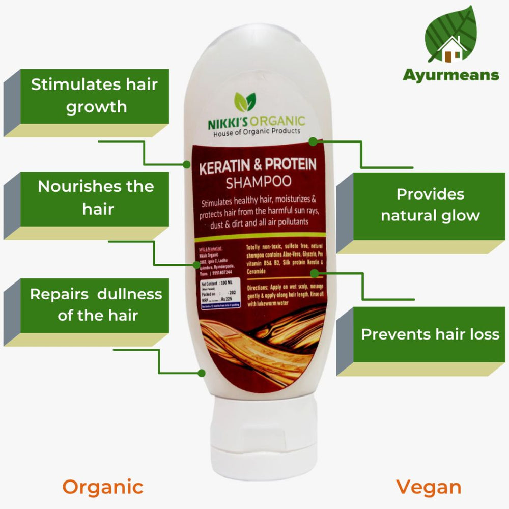 Keratin & Protein Shampoo | Organic | For Dull, Curly, Dry Hair
