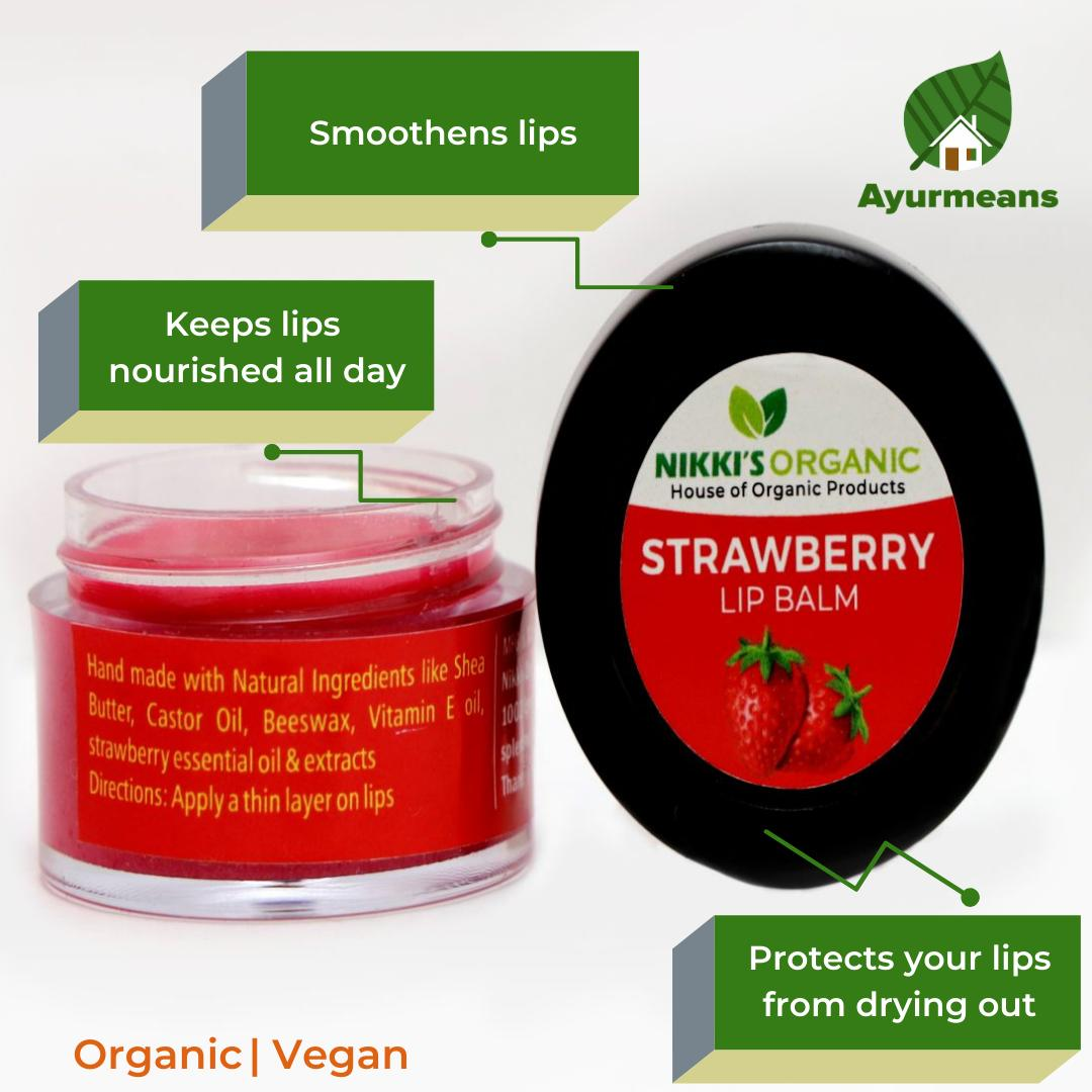 Strawberry Lip Balm | Dark | Pink | Dry Lips | Organic