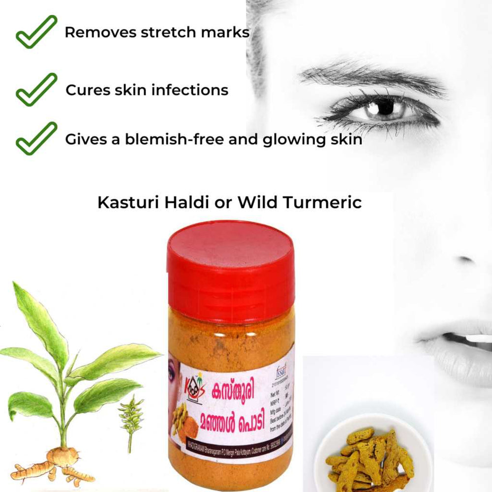 Kasturi Haldi or Wild Turmeric Powder 50 GM | Skin Care | Step By Step | All Skin Types-Ayurmeans