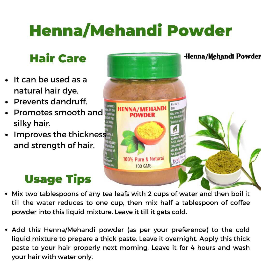 Natural Henna/Mehandi Powder 100 GM-Ayurmeans