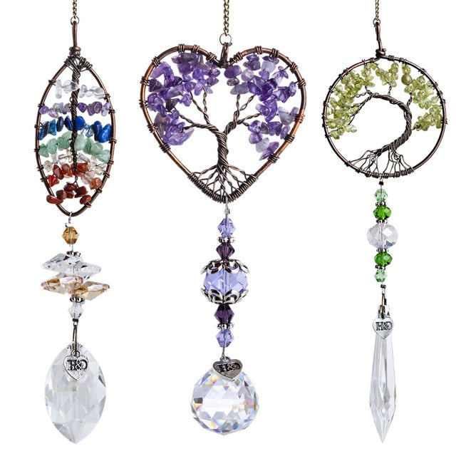 """Third Lucks a Charm"" Healing Chakra Crystal Suncatcher 3pc Set"