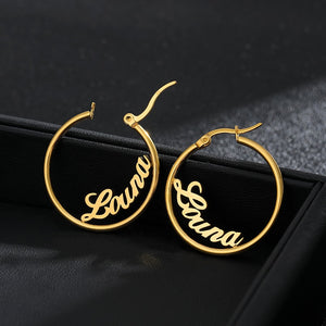"""Meet me on the dance floor"" Custom Personalized Name Hoop Earrings"