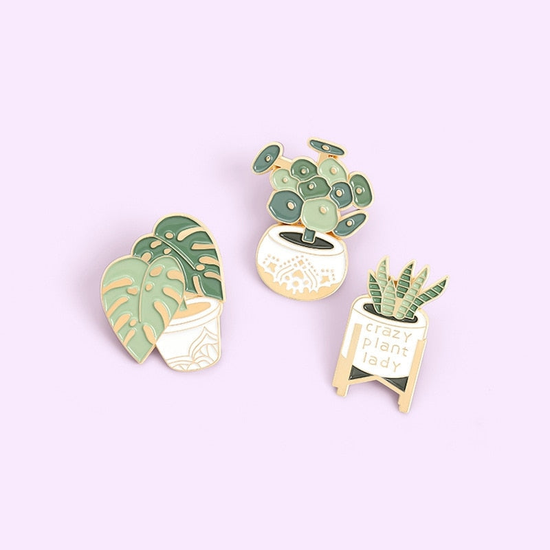 """Plant Mom"" Pins Set"