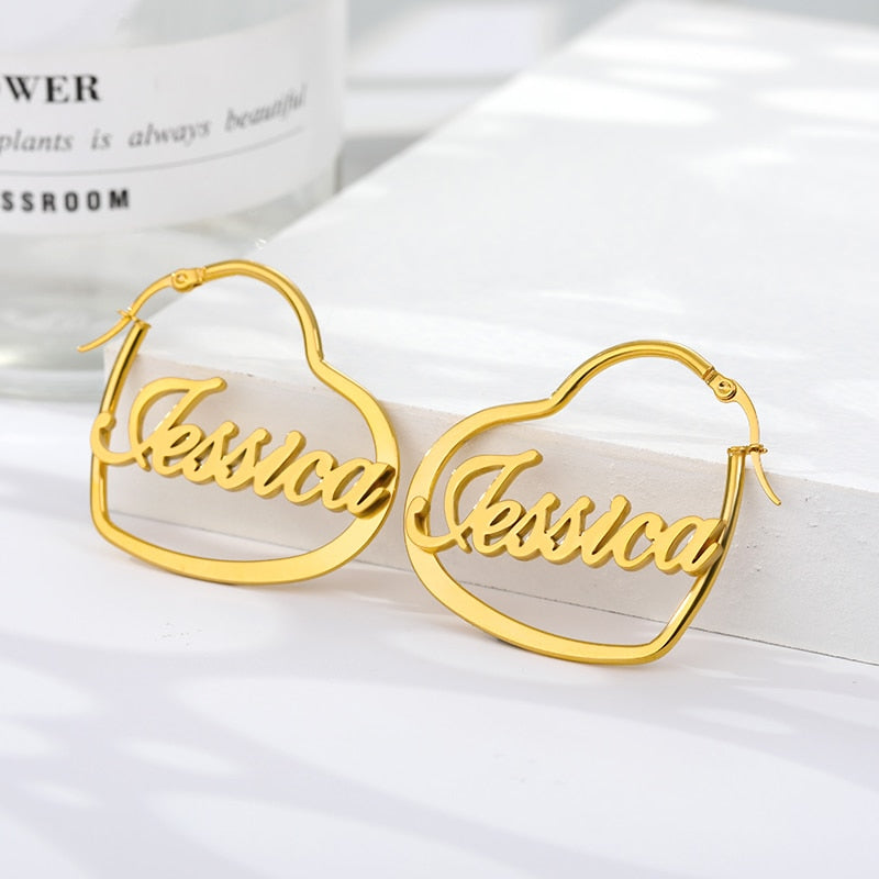 """Spiked Seltzer"" Personalized Custom Name Heart Hoop Earrings"