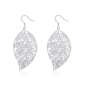 White Gold Filigree Leaf Earrings