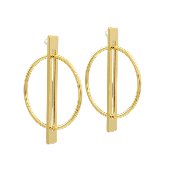 Circle & Bar Gold Dipped Earrings