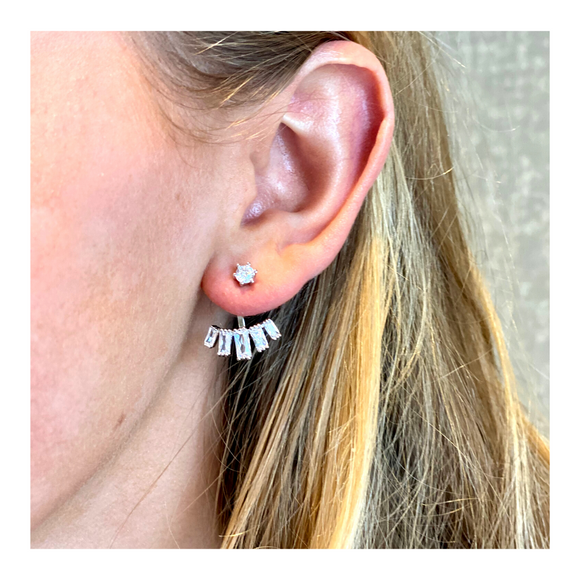 CZ Bar & Fan Earrings