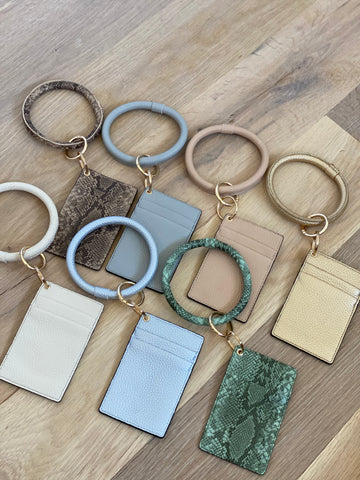 Slim Minimalist Faux Leather Card Keyring Holder
