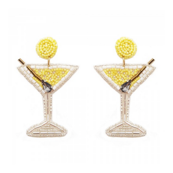 Beaded Martini Drop Earrings