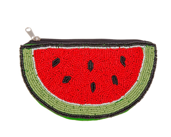 Seed Beaded Watermelon Coin Pouch