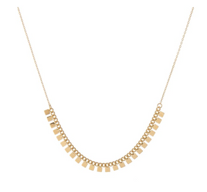 Gold dipped square floater necklace